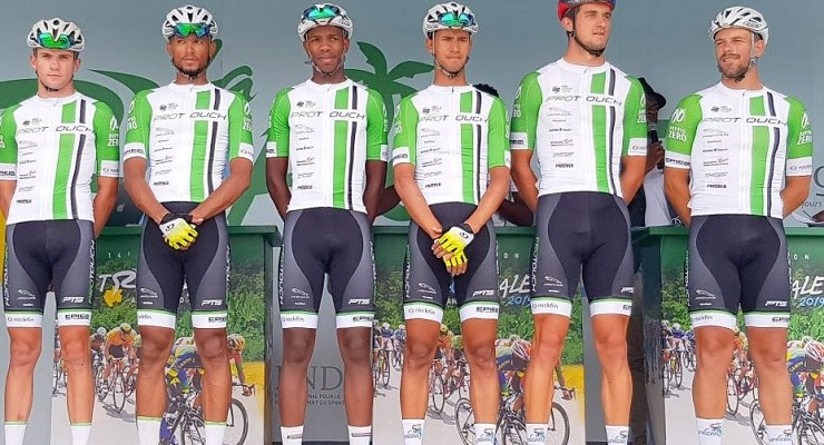 The ProTouch Continental team doing duty in Gabon (from left) Mitchell Eliot, Reynard Butler, Songezo Jim, Jayde Julius, Rohan du Plooy and Pieter Seyffert. Photo: Supplied