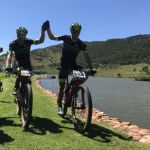 Team Darkhorse Wheels' Andrew Hill (left) and Shaun-Nick Bester crossed the line simultaneously to win the third and final stage of the Route 66 MTB Experience. Photo: Twitter/@DHW_ProCycling