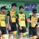 Jumbo-Visma, pictured here at the Tour of Britain last year when they were still known as Lotto NL-Jumbo, won the team time-trial on stage one of the UAE Tour today. Photo: Photo credits