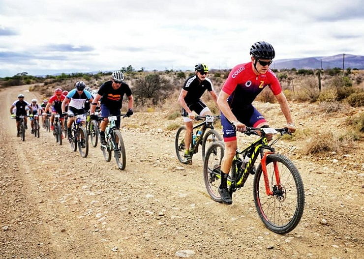 Riders in action during stage two of the TransCape MTB Encounter today. Photo: Jacques Marais