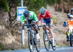 Clint Hendricks (front) and Byron Munton gunning it during the Cape Town Cycle Tour today. Photo: Chris Hitchcock