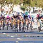 Cherise Willeit (centre) flanked on her left by Tiffany Keep in the elite women's sprint finish at the Cape Town Cycle Tour today. Photo: Chris Hitchcock