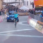 Astana Pro's Jakob Fuglsang crossing the line to win stage five of the Tirreno-Adriatico today. Photo: Live stream