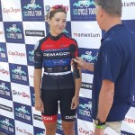Demacon MaxWax Racing's Kim le Court all smiles after winning the Cape Town Cycle Tour last year. Photo: Facebook/@DemaconLadies