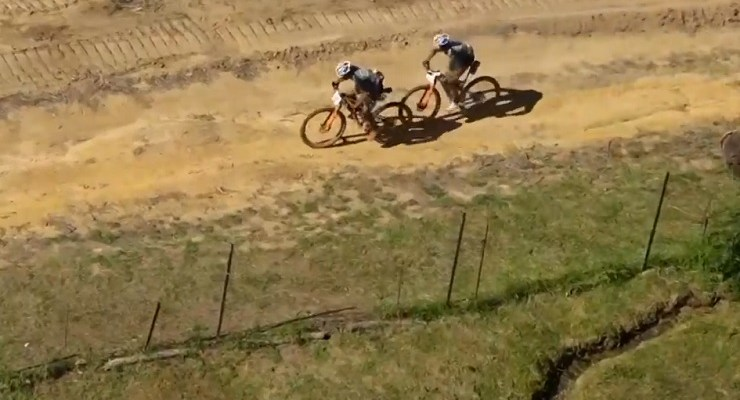 7C CBZ WILIER's Louis Meija and Johnny Cattaneo in action during stage six of the Cape Epic today. Photo: Live stream