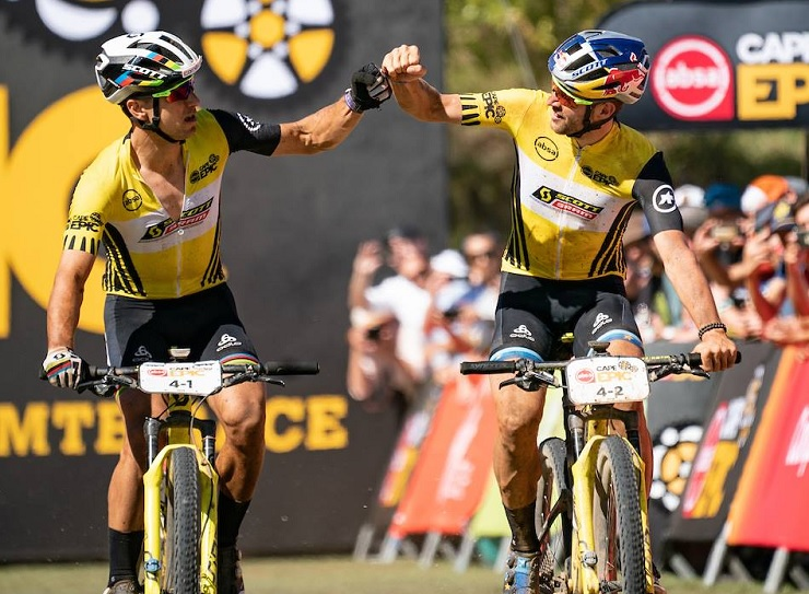 SCOTT-SRAM's Nino Schurter (left) and Lars Forster won the Cape Epic after the 70km Grand Finale concluded today. Photo: Greg Beadle/Cape Epic