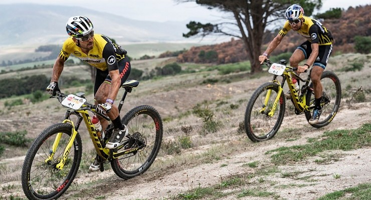 Nino Schurter (left) and Lars Forster once again showed their prowess after winning stage two of the Cape Epic today. Photo: Nick Muzik/Cape Epic