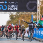 Renowned sprinter Nolan Hoffman celebrates his win on the opening stage of 58.5km in the Takealot Tour of Good Hope