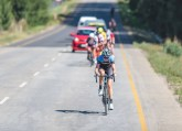 Yolandi du Toit leading the way in the women's race during stage two of the Tour of Good Hope. Photo: Henk Neuhoff Photography