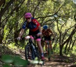 Nina Kruger (front) during the first event in the Schools MTB League