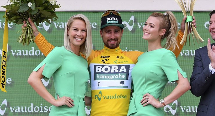 Peter Sagan in yellow on stage five of the 2019 Tour de Suisse