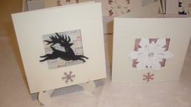 Reindeer and snowflake with vintage-style paper inserts