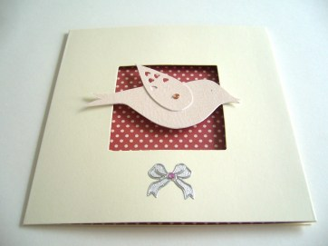 Pink bird cream tri-fold card