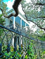 The Anne Rice house in the Garden District features an elaborate fence. Does the fence feature a rose design or a skull design?