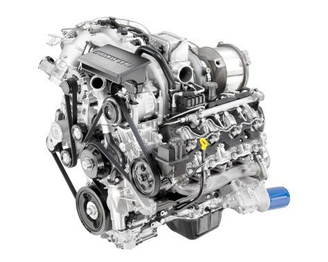 The all-new 2017 Duramax 6.6L turbo diesel features more torque and horsepower and increased strength cylinder block, heads, crankshaft, connecting rods and pistons. The Duramax features a state-of-the-art oil separator and cold-start system among other features. © General Motors