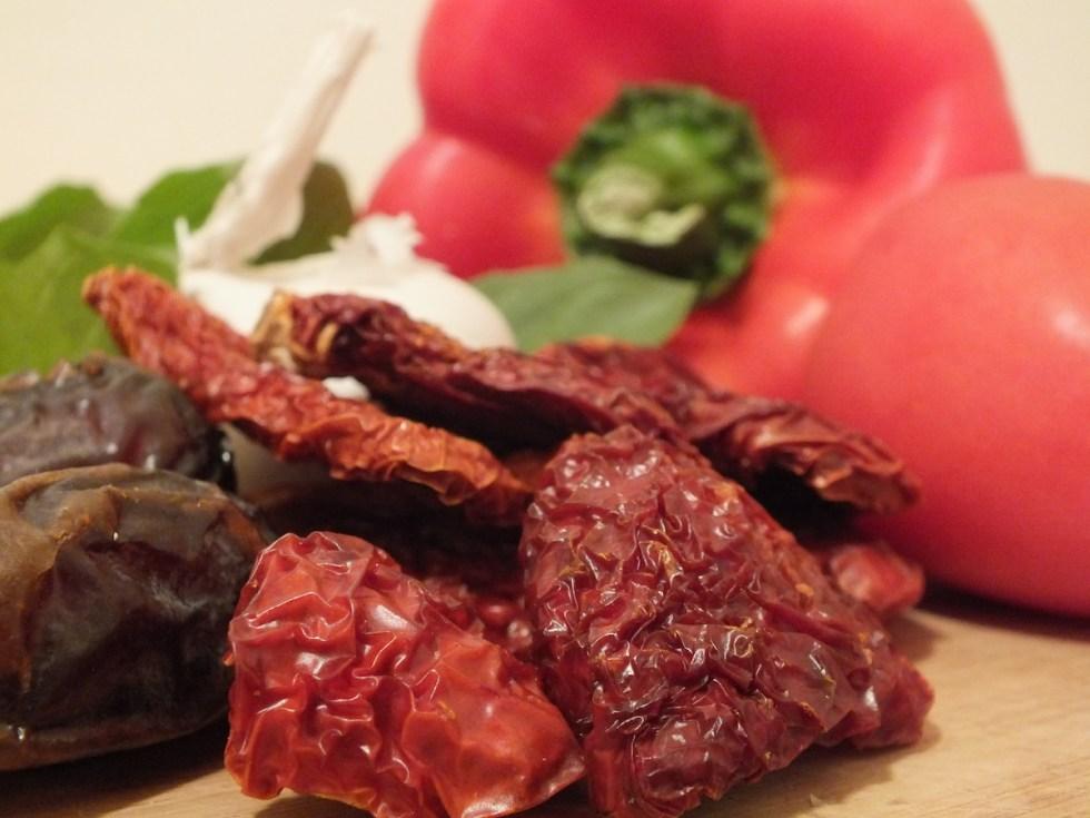Medjools, garlic, sun-dried tomatoes, garlic, basil, and red pepper