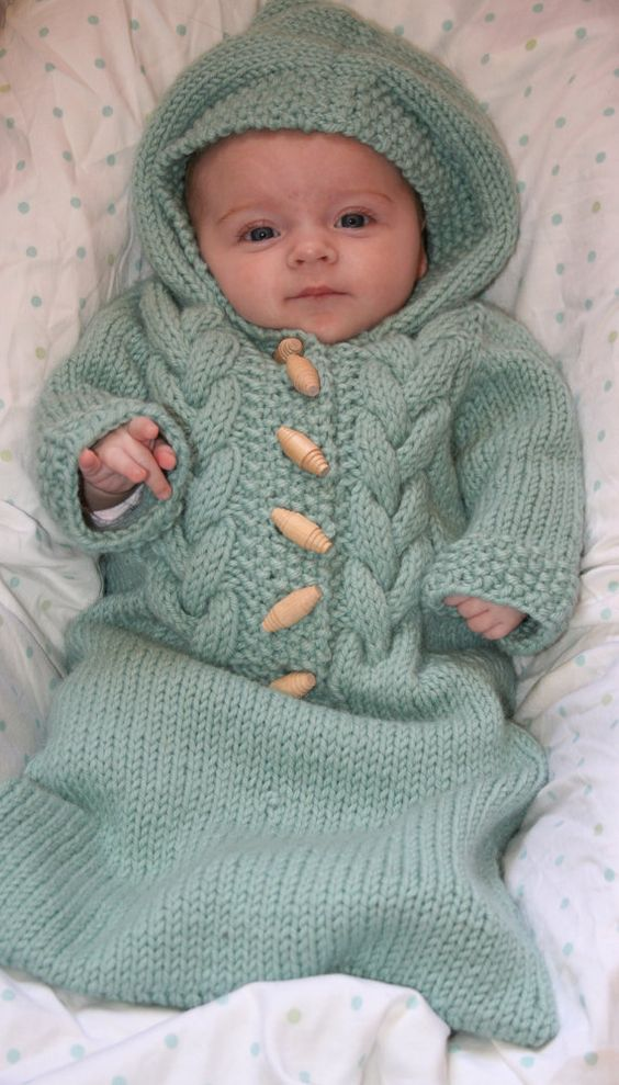 Knitted Baby Bunting Bag