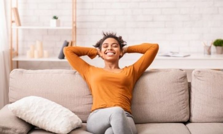 woman practicing self care
