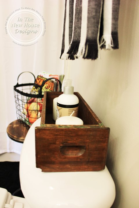 Industrial Farmhouse Antique Sewing Machine Drawer in bathroom