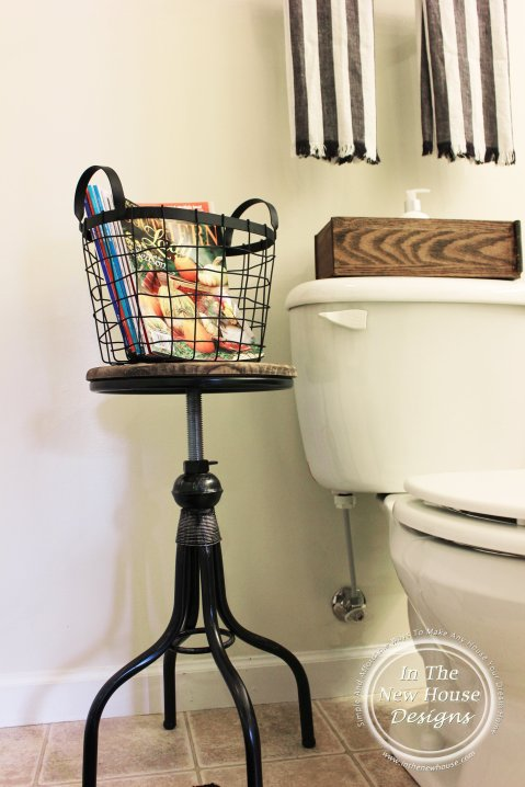 Industrial Farmhouse Stool in bathroom