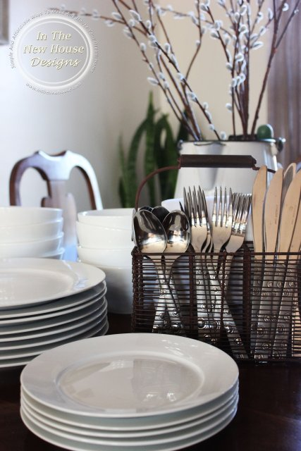 Farmhouse White Dishes with Rustic Silverware Caddy