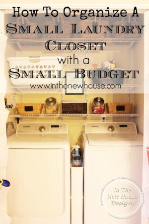 Super functional small laundry closet remodel on a budget via In The New House Designs