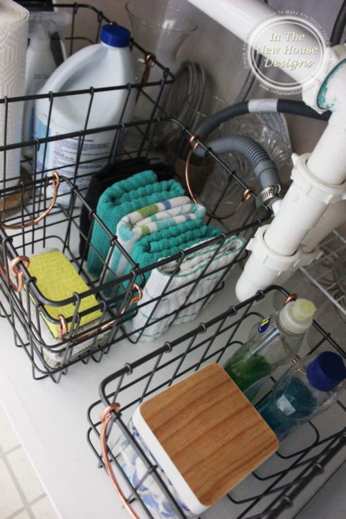 Metal baskets are perfect for corraling under sink essentials