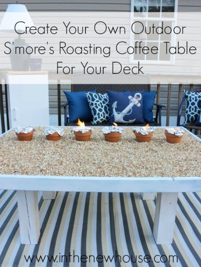 How To Make Your Own Outdoor DIY Smores Roasting Coffee Table For Your Deck. Perfect for parties and cookouts. See the tutorial at In The New House Designs.