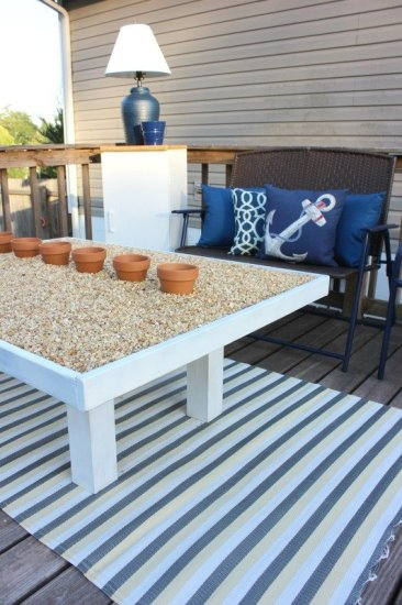Rock filled outdoor coffee table