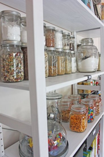 Open Shelving Pantry with Mason Jars for Storage