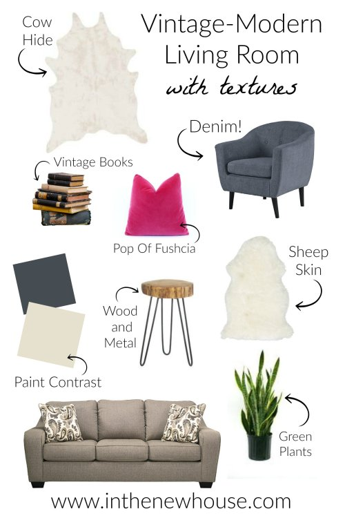 Vintage Modern Living Room With Texture Mood Board