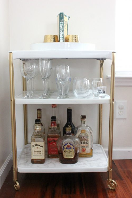 use leftover spray paint to give an old piece of furniture a new look