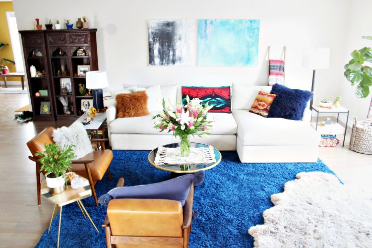 eclectic living room with textures