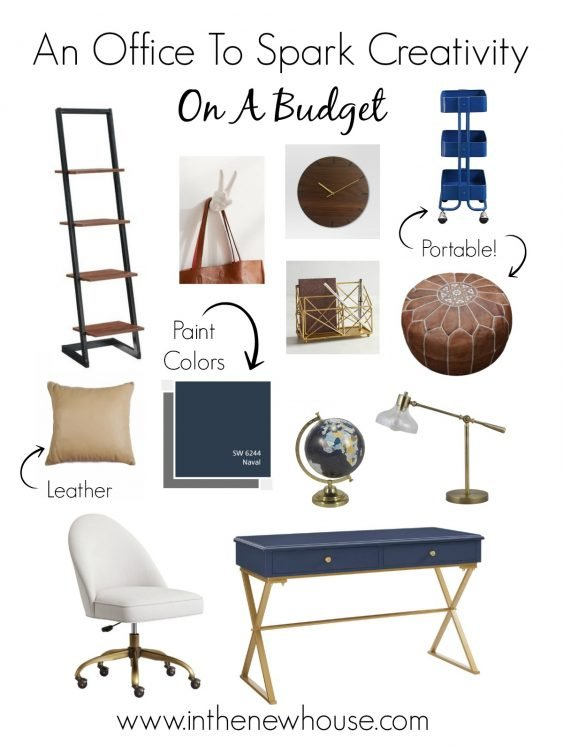 Navy and Brown Office With Gold Accents