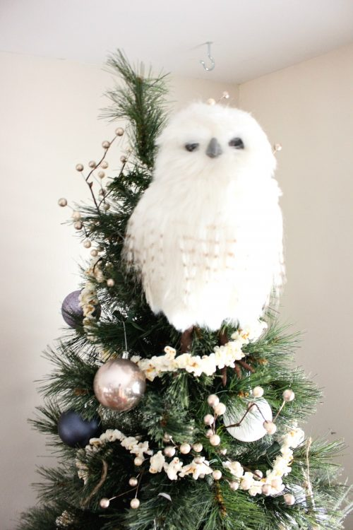 white owl tree topper