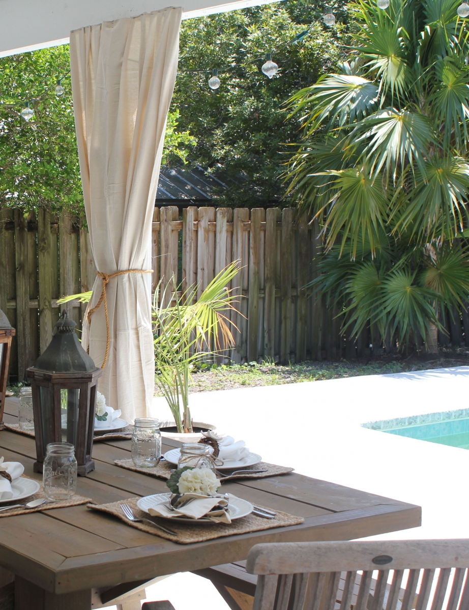 Outdoor Patio With Dining Area Beside Pool