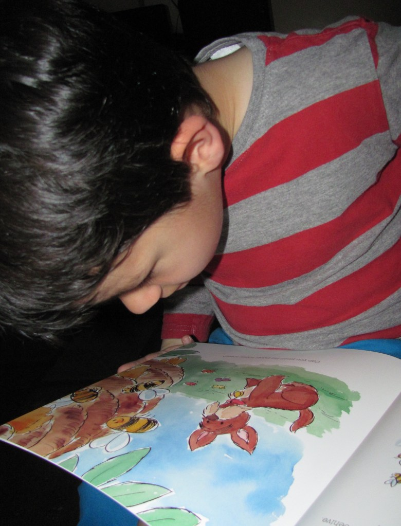 sniffing a scented story book