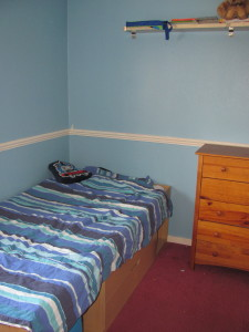 """bedroom """"before"""" picture from a room make over. boring looking boys room"""