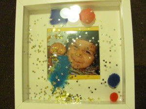 boys picture decorated kids photo frame glitter pom poms stars