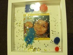 boys picture decorated kids photo frame glitter pom poms stars