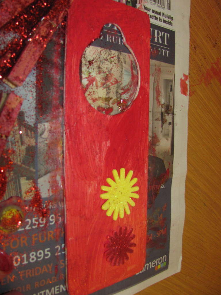 paint on newspaper