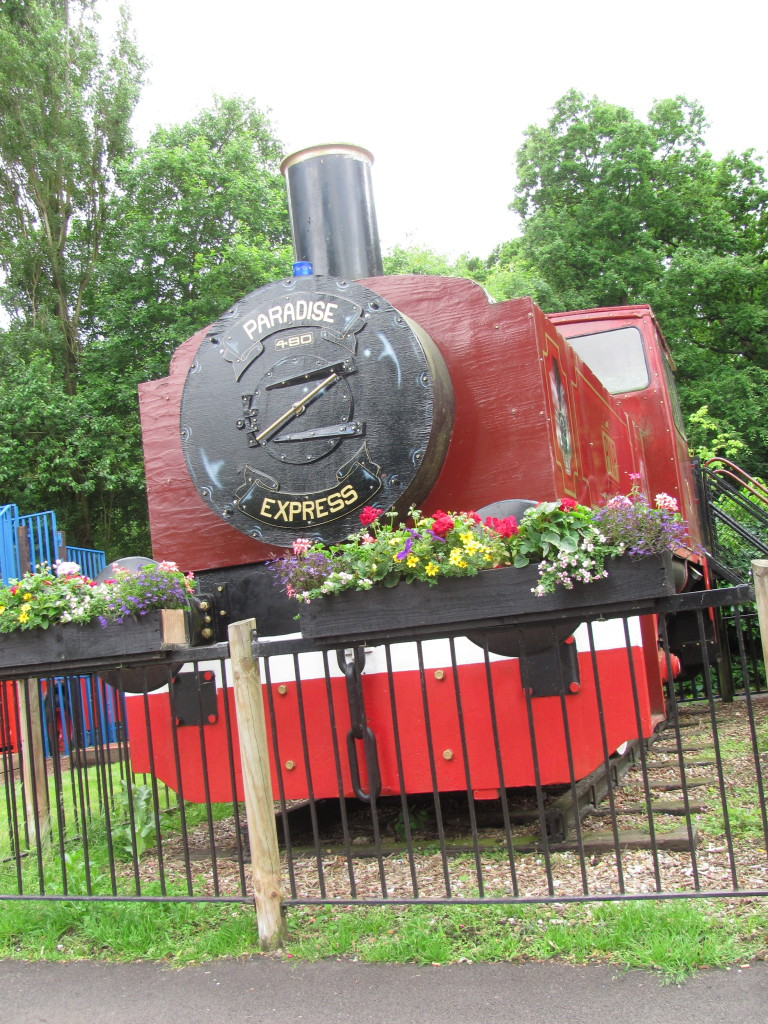 steam train turned into a play area