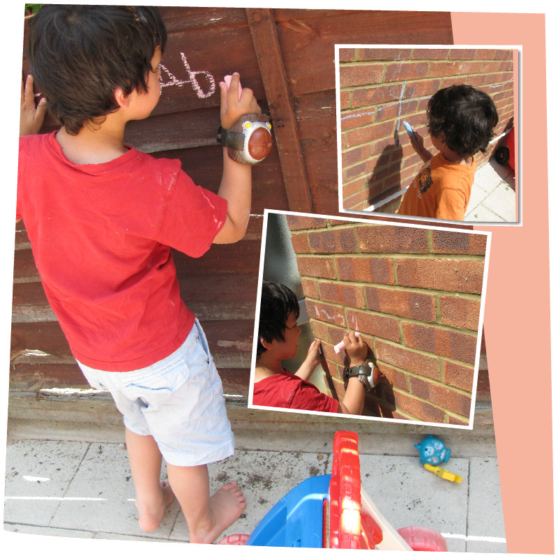 learning through play with chalk