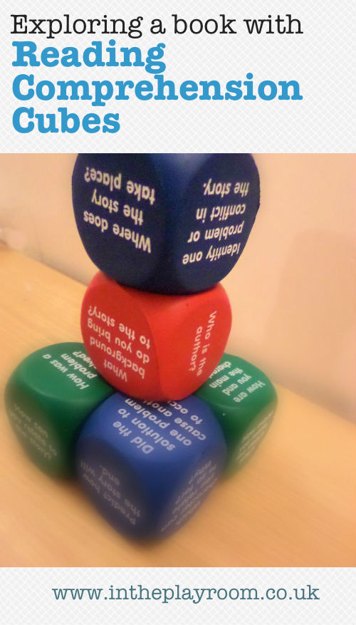 exploring a book with reading comprehension cubes