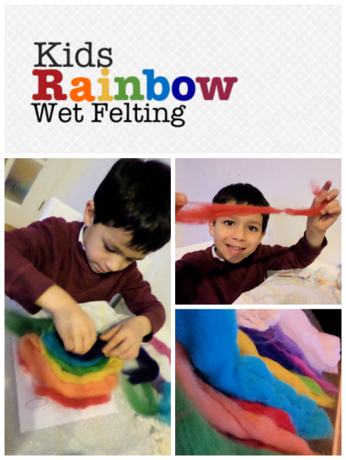 wet felting kids rainbow crafts