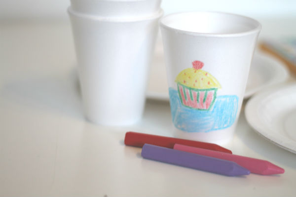 decorating polystyrene cups or paper cups