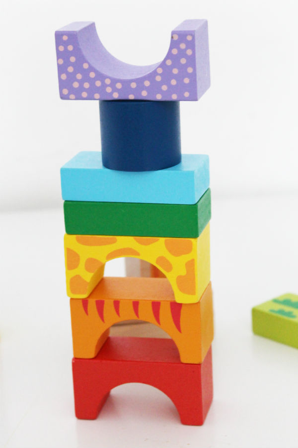 Wooden building blocks rainbow activity with Bigjigs blocks