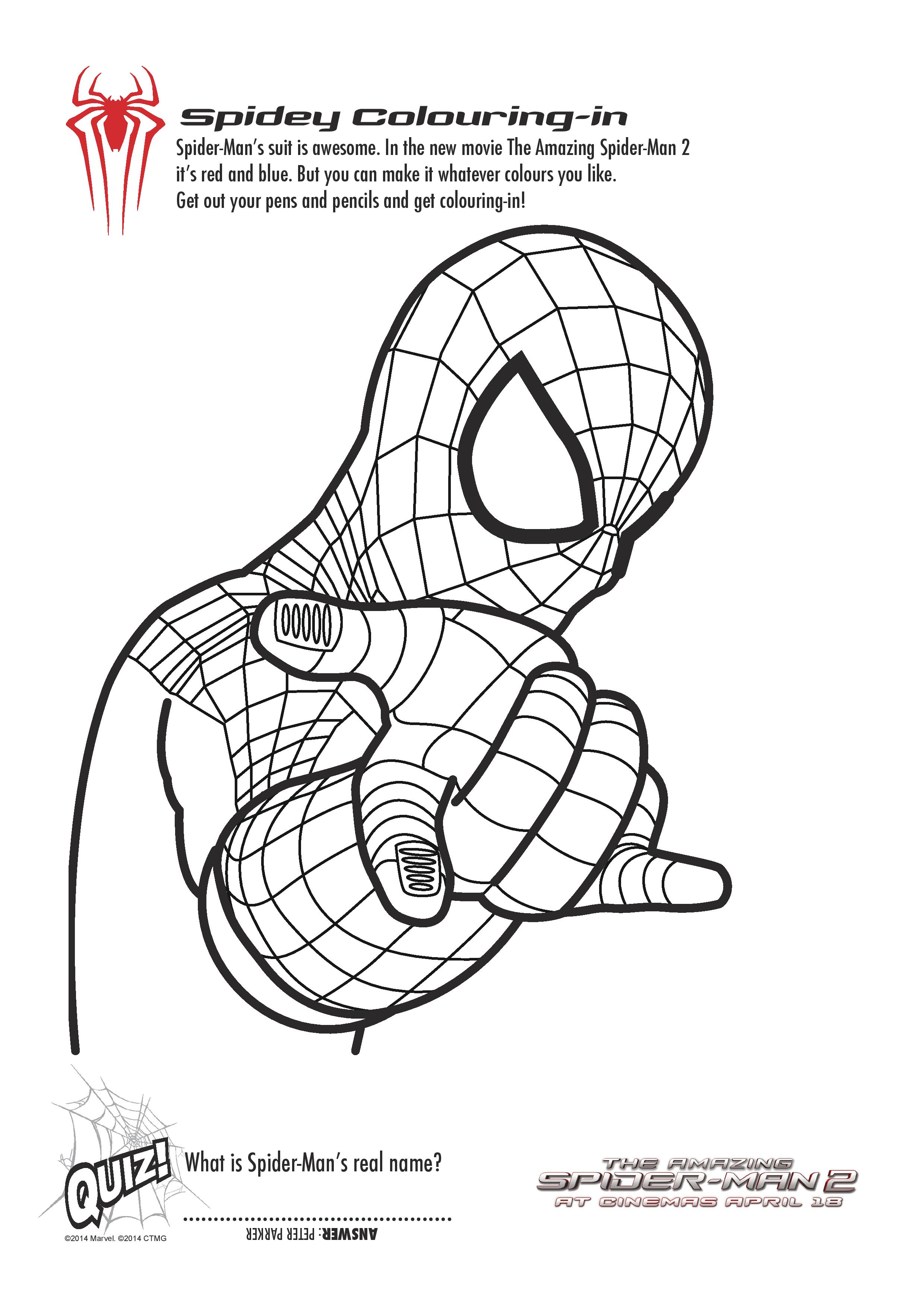 Free printable spiderman colouring pages and activity for Spiderman coloring book pages