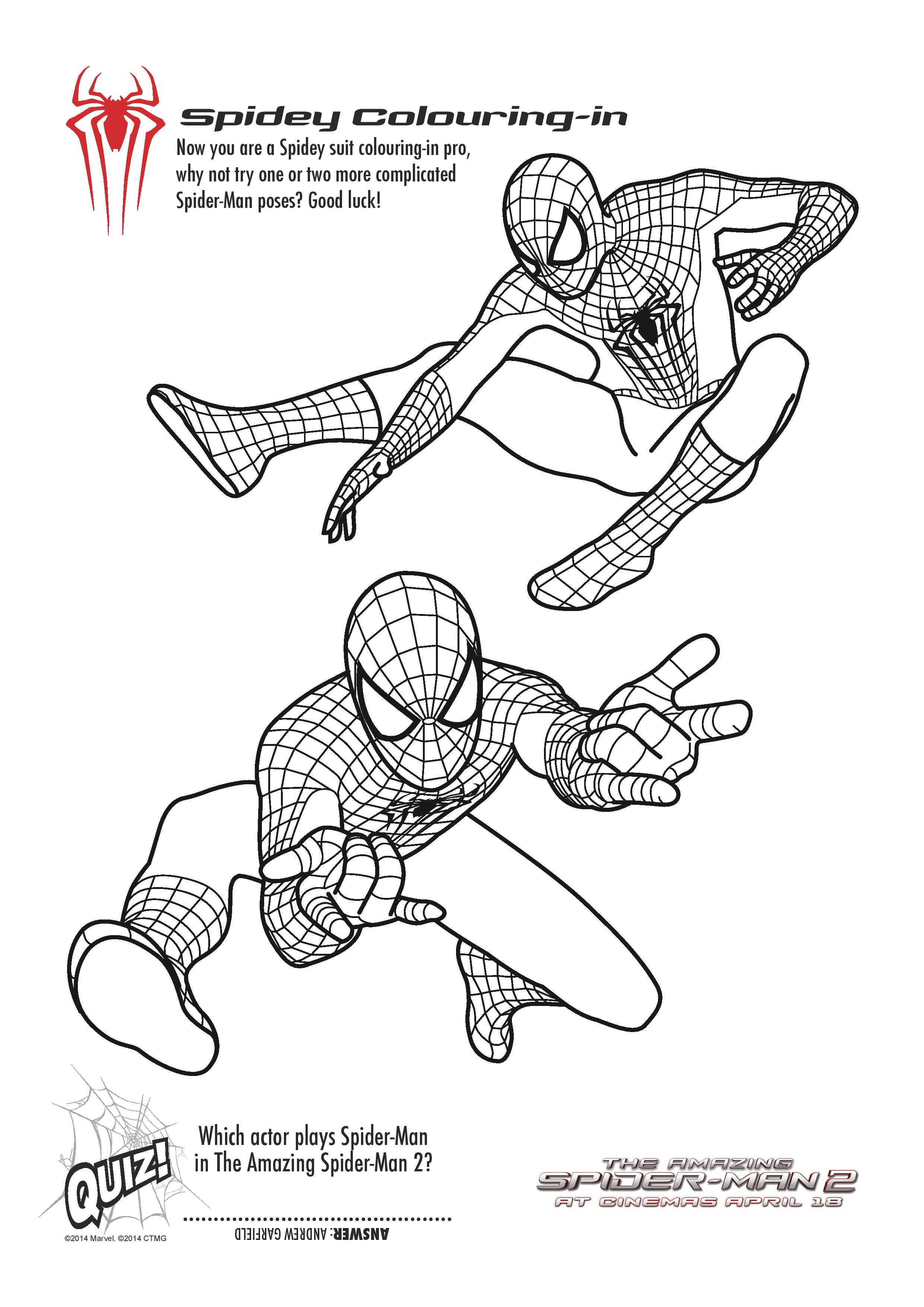 spider man colouring pages free printables
