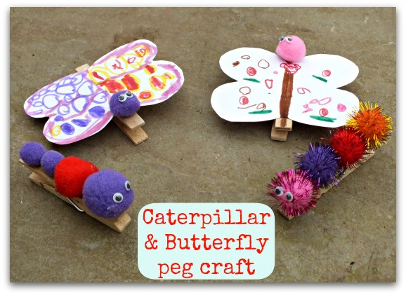 animal crafts for kids - caterpillars and butterflies